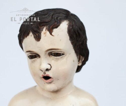 Escultura talla de niño Jesús en madera policromada | 3