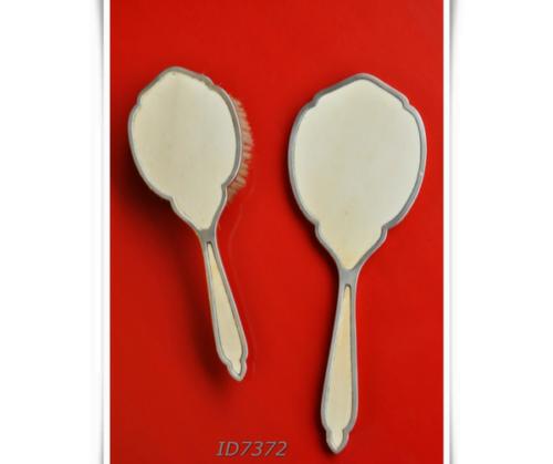 Espejo y escobilla de Plata inglesa 800 con Marfil