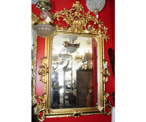 Espejo francés en madera dorada con pan de bronce