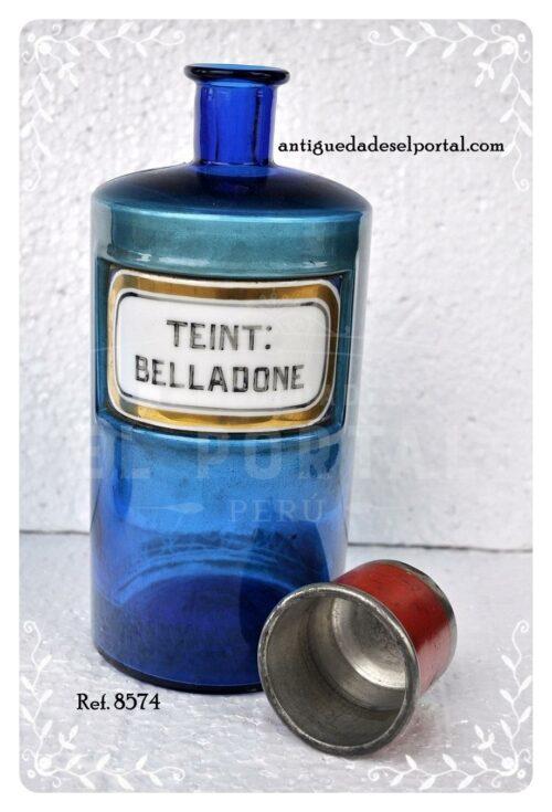 Pomo de farmacia de color azul etiqueta de porcelana | 2