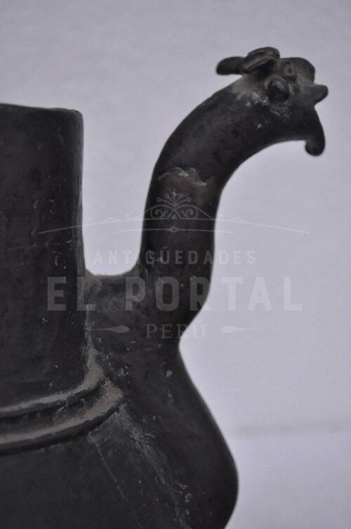 Antigua chocolatera Colonial de metal de cobre | 3