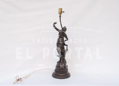 Lámparade mesa de peltre francés L. F. Moreau | 1