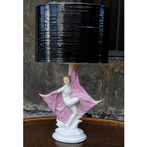 Lámpara de porcelana estilo Art Deco