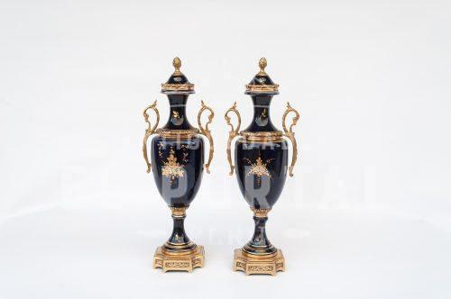 Sèvres - Porcelana Par de Ánforas | 2
