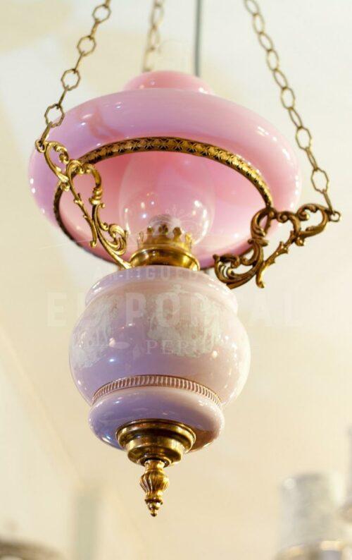 Quinqué Lámpara de porcelana y bronce | 1