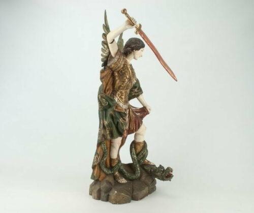 Arcángel San Miguel en madera tallada | 4