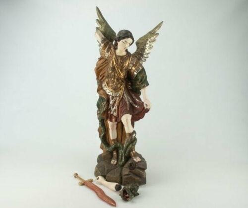 Arcángel San Miguel en madera tallada | 3