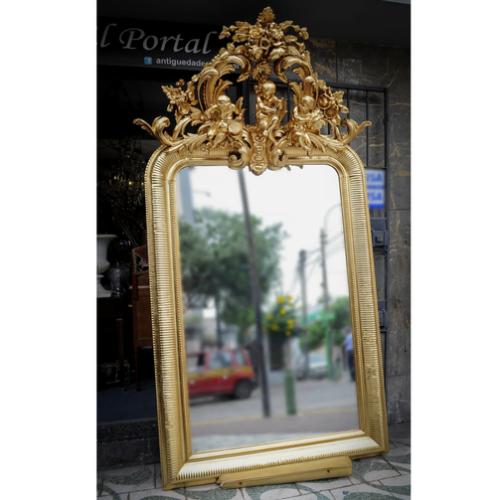 antique french mirror  espejo frances  antiguedades el portal