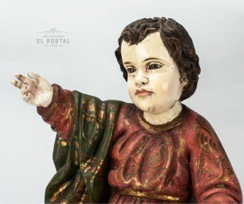 Niño Jesús en madera tallada Policromada | 2