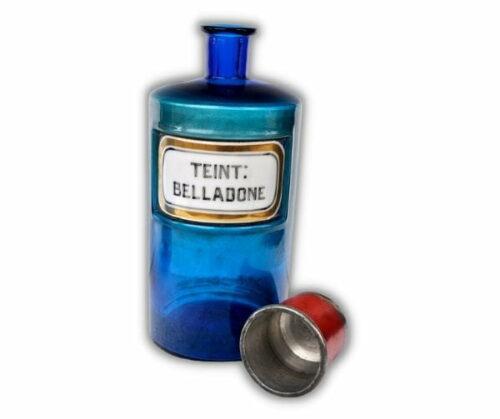 Pomo de botica de color azul etiqueta de porcelana | 1