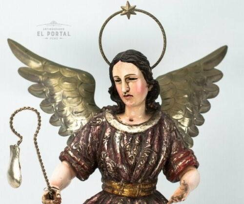 Arcángel San Rafael en madera tallada y policromada | 1