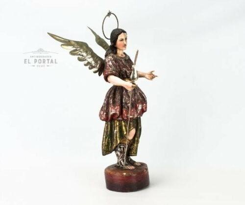 Arcángel San Rafael en madera tallada y policromada | 4