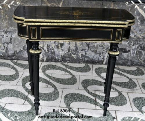 estilo-Imperio-mesa-consola-mesa-de-juego-con bronce