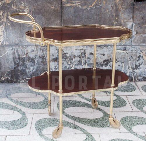 Mesa rodante de madera con bronce | 1