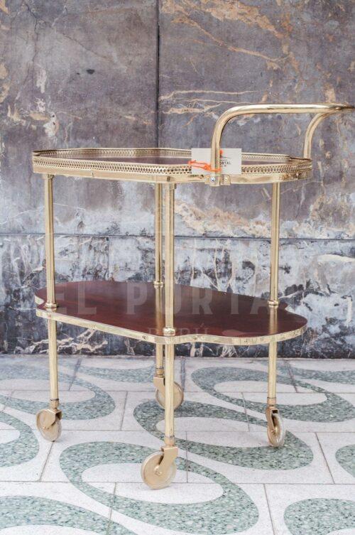 Mesa rodante de madera con bronce | 2