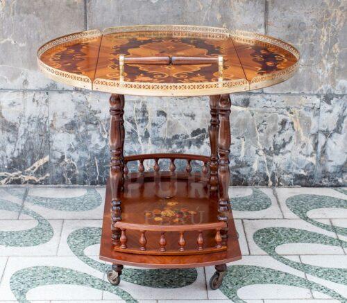 Mesa bar rodante en madera marqueteada | 5