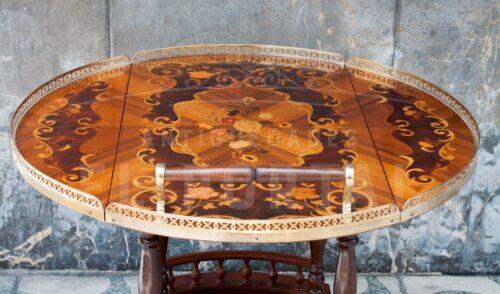 Mesa bar rodante en madera marqueteada | 7