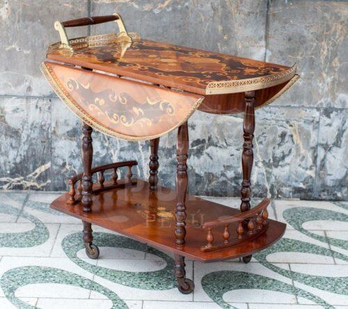 Mesa bar rodante en madera marqueteada | 1