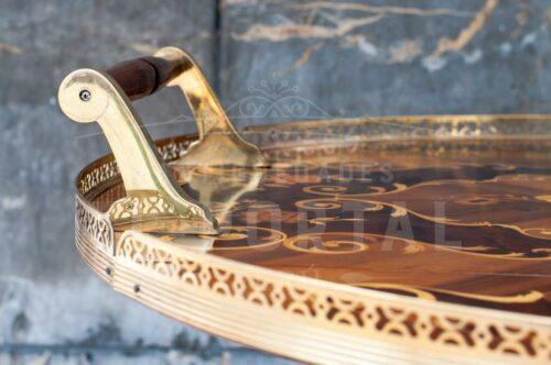 Mesa bar rodante en madera marqueteada | 3