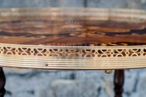 Mesa bar rodante en madera marqueteada | 4