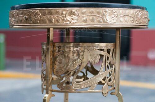 Pedestal Art Nouveau de bronce y mármol | 1