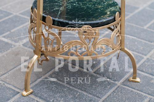 Pedestal Art Nouveau de bronce y mármol | 2