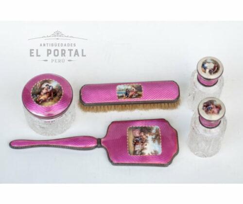 10612-set-de-tocador-plata-esmaltada-antiguedades-antiguedadesElPortal