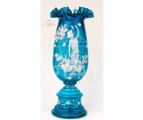Mary Gregory Florero de cristal esmaltado | 1