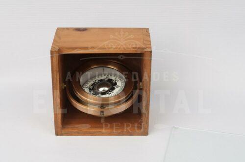 Brújula de bronce con caja de madera | 3