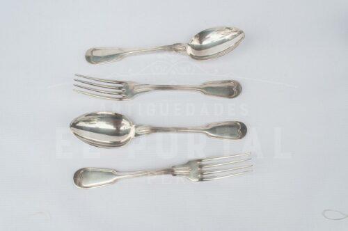 Christofle tenedor y cuchara de plaqué | 2