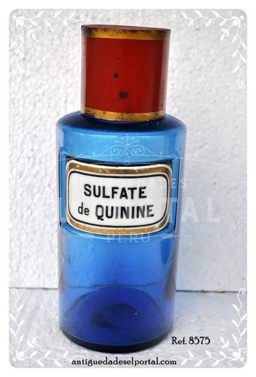 Pomo de farmacia de color azul etiqueta de porcelana | 1