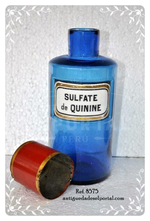 Pomo de farmacia de color azul etiqueta de porcelana | 3