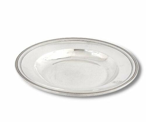 Christofle plato de plaqué estilo Luis XVl modelo perlas | 1