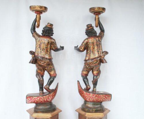 Blackamoor Gondolero veneciano de madera (Par) | 6