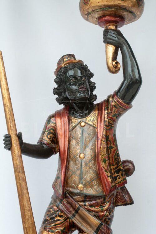 Blackamoor Gondolero veneciano de madera (Par) | 2