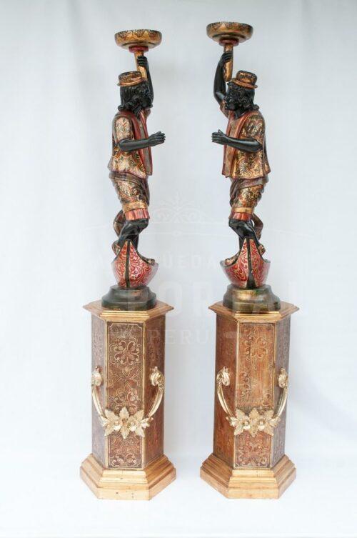 Blackamoor Gondolero veneciano de madera (Par) | 5