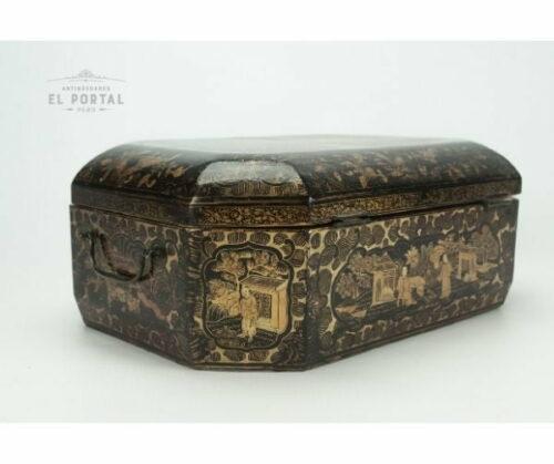 Cofre costurero chino de madera laqueada | 2