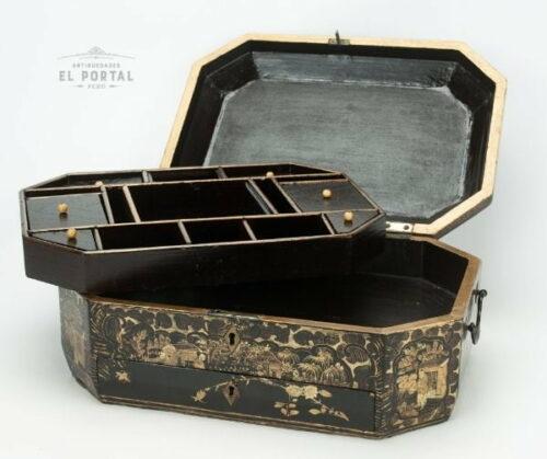 Cofre costurero chino de madera laqueada | 4