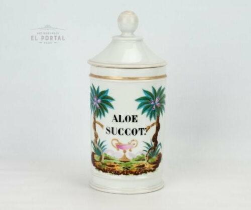 Conservera de farmacia de porcelana francesa ALOE-SUCCOT