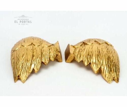 Par de alas de madera tallada y dorada | 2