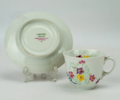 Taza y plato de porcelana Limoges | 1