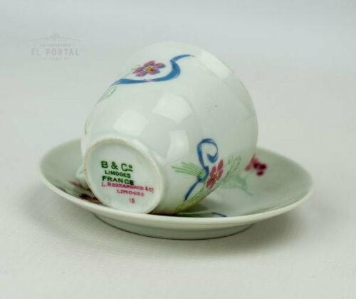 Taza y plato de porcelana Limoges | 2