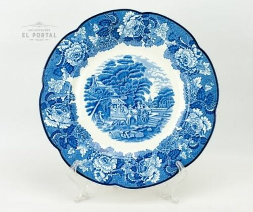 Plato azul y blanco Enoch Woods & Sons