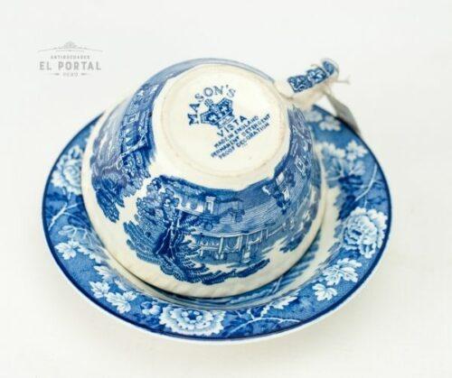 Plato y taza  Woods & Sons azul y blanco | 2