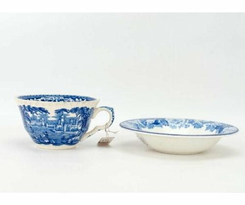 Plato y taza  Woods & Sons azul y blanco | 1