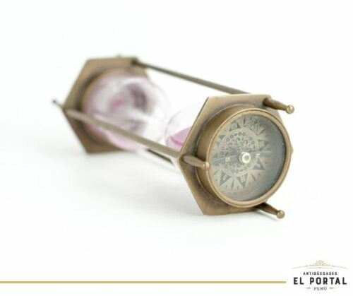 Reloj de arena de bronce con doble brújula | 3